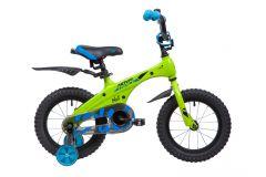 """Детский велосипед  NOVATRACK 14"""", Mагний-Алюминиевая рама, BLAST, зелёный неон, тормоз ножной.,пластик.крылья"""