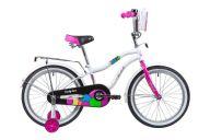 """Подростковый велосипед  NOVATRACK 20"""", CANDY, белый, полная защита цепи, тормоз нож., сумочка на руль, крылья и ба"""