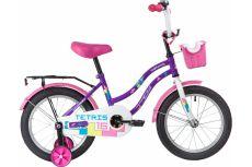 """Велосипед NOVATRACK 16"""" TETRIS фиолетовый, тормоз нож, крылья цвет, багажник, корзина, полная защ.це"""