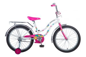 "Велосипед NOVATRACK 20"" TETRIS белый, тормоз нож, крылья цвет, багажник, корзина, защита А-тип"