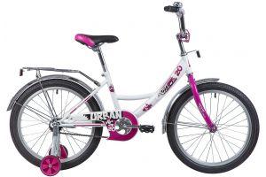 """Велосипед NOVATRACK 20"""", URBAN, белый, защита А-тип, тормоз нож., крылья и багажник хром."""
