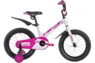 """Детский велосипед  NOVATRACK 16"""", Mагний-Алюминиевая рама, BLAST, белый-фуксия, тормоз ножной.,пластик.крыль"""