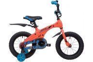 """Детский велосипед  NOVATRACK 14"""", Mагний-Алюминиевая рама, BLAST, оранж. неон, тормоз ножной.,пластик.крылья"""