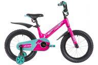 """Детский велосипед  NOVATRACK 16"""", Mагний-Алюминиевая рама, BLAST, фуксия, тормоз ножной.,пластик.крыль"""