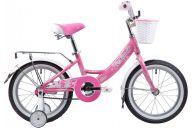 """Детский велосипед  NOVATRACK 16"""" GIRLISH LINE,розовый, алюм.рама, тормоз нож, цвет крылья, хром багажник, пер"""