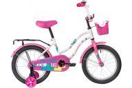 """Детский велосипед  NOVATRACK 16"""" TETRIS белый, тормоз нож, крылья цвет, багажник, корзина, полная защ.цепи"""