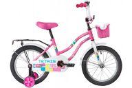 """Детский велосипед  NOVATRACK 16"""" TETRIS розовый, тормоз нож, крылья цвет, багажник, корзина, полная защ.цепи"""