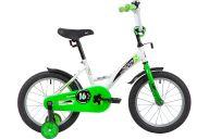 """Детский велосипед  NOVATRACK 16"""" STRIKE белый-зелёный, тормоз нож, крылья корот, полная защита цепи"""