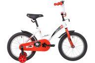 """Детский велосипед  NOVATRACK 16"""" STRIKE белый-красный, тормоз нож, крылья корот, полная защита цепи"""