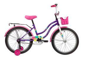 """Велосипед NOVATRACK 20"""" TETRIS фиолетовый, тормоз нож, крылья цвет, багажник, корзина, защита А-тип"""