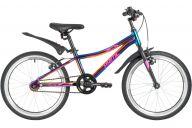 """Подростковый велосипед  NOVATRACK 20"""" PRIME алюм., фиолет.металлик, тормоз V-brake, короткие крылья"""