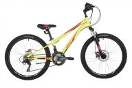 """Подростковый велосипед  NOVATRACK 24"""" ACTION зеленый, стальная рама 11"""", 18 скор., Shimano TZ500/RS35, дисковый т"""