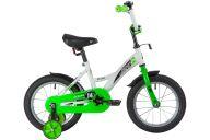 """Детский велосипед  NOVATRACK 14"""" STRIKE белый-зелёный, тормоз нож, крылья корот, полная защ.цепи"""