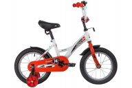 """Детский велосипед  NOVATRACK 14"""" STRIKE белый-красный, тормоз нож, крылья корот, полная защ.цепи"""
