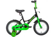 """Детский велосипед  NOVATRACK 14"""" STRIKE чёрный-зелёный, тормоз нож, крылья корот, полная защ.цепи"""