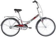 """Складной велосипед  NOVATRACK 24"""" складной, TG, серый, тормоз нож, двойной обод, багажник, сидение комфорт"""