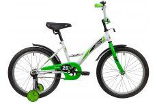 "Велосипед NOVATRACK 20"" STRIKE белый-зелёный, тормоз нож, крылья корот, защита А-тип"