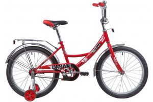 """Велосипед NOVATRACK 20"""", URBAN, красный, защита А-тип, тормоз нож., крылья и багажник хром."""