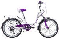 "Подростковый велосипед  NOVATRACK 20"", BUTTERFLY, белый-фиолет., алюминиевая рам 6-скор, TY21/RS35/SG-6SI, V-brake"