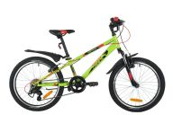"Подростковый велосипед  NOVATRACK 20"" EXTREME зеленый, сталь, 6 скор., Shimano TY21/Microshift TS38, V- brake тор"