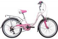 "Подростковый велосипед  NOVATRACK 20"", BUTTERFLY, белый-розовый, алюминиевая рам,6-скор, TY21/RS35/SG-6SI, V-brake"