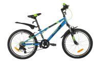 "Подростковый велосипед  NOVATRACK 20"" EXTREME синий, сталь, 6 скор., Shimano TY21/Microshift TS38, V- brake тормо"