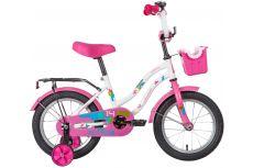 """Велосипед NOVATRACK 14"""" TETRIS белый, тормоз нож, крылья цвет, багажник, корзина, полная защ.цепи"""