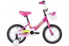 "Велосипед NOVATRACK 14"" TWIST розовый, тормоз нож, крылья корот, полная защ.цепи, корзина"