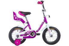 """Велосипед NOVATRACK 12"""" MAPLE, сиреневый, полная защита цепи, тормоз нож, крылья цвет, сидение для к"""