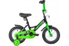 """Велосипед NOVATRACK 12"""" STRIKE чёрный-зелёный, тормоз нож., корот.крылья, полная защита цепи"""
