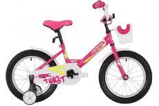 "Велосипед NOVATRACK 12"" TWIST розовый, тормоз нож., корот.крылья, полная защита цепи, перед.корзина"