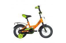"""Велосипед NOVATRACK 12"""" VECTOR оранжевый, тормоз нож., крылья и багажник чёрн., полная защита цепи"""