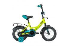 """Велосипед NOVATRACK 12"""" VECTOR салатовый, тормоз нож., крылья и багажник чёрн., полная защита цепи"""