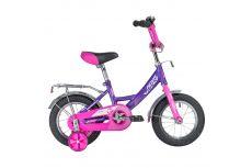 """Велосипед NOVATRACK 12"""" VECTOR лиловый, тормоз нож., крылья и багажник хром., полная защита цепи"""