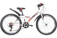 """Подростковый велосипед  NOVATRACK 24"""" RACER сталь.рама 12"""" ,белый, 6-скор, TY21/TS38/SG-6SI, V-brake"""