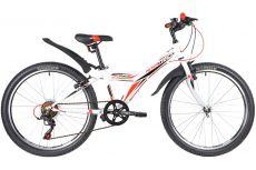"""Велосипед NOVATRACK 24"""" RACER сталь.рама 12"""" ,белый, 6-скор, TY21/TS38/SG-6SI, V-brake"""