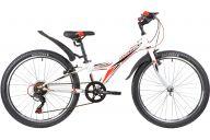 """Подростковый велосипед  NOVATRACK 24"""" RACER сталь.рама 10"""" ,белый, 6-скор, TY21/TS38/SG-6SI, V-brake"""