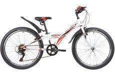 """Велосипед NOVATRACK 24"""" RACER сталь.рама 10"""" ,белый, 6-скор, TY21/TS38/SG-6SI, V-brake"""