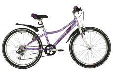 "Велосипед NOVATRACK 24"" ALICE лиловый, стальная рама 10"", 6 скор., Shimano TY21/Microshift TS38, V-"