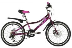 "Велосипед NOVATRACK 20"" ALICE пурпурный, стальная рама, 6 скор., Shimano TY21/Microshift TS38, диск"