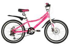 """Велосипед NOVATRACK 20"""" ALICE розовый, стальная рама, 6 скор., Shimano TY21/Microshift TS38, дисков"""