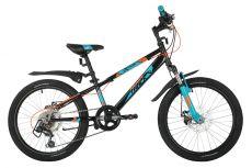"""Велосипед NOVATRACK 20"""" EXTREME черный, сталь, 6 скор., Shimano TY21/Microshift TS38, дисковый торм"""