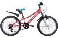 """Подростковый велосипед  NOVATRACK 20"""", VALIANT, коралловый, сталь, 6-скор, TY21/TS38/SG-6SI, V-brake"""
