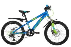 "Велосипед NOVATRACK 20"" POINTER синий, стальная рама, 6 скор., Shimano TY21/Microshift TS38, дисков"