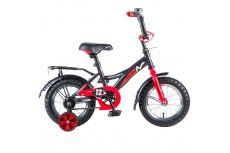 """Велосипед NOVATRACK 12"""", STRIKE, чёрный-красный, тормоз нож., крылья и багажник чёрн., #125958"""