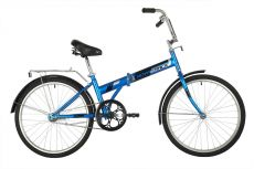 """Велосипед NOVATRACK 24"""" складной, синий, тормоз ножной, багажник, крылья"""